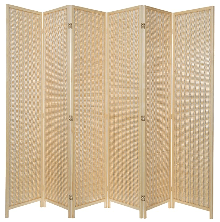 Decorative Woven Bamboo 6-Panel Room Divider Screen, Beige