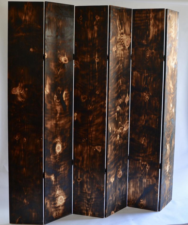 burned wood room divider