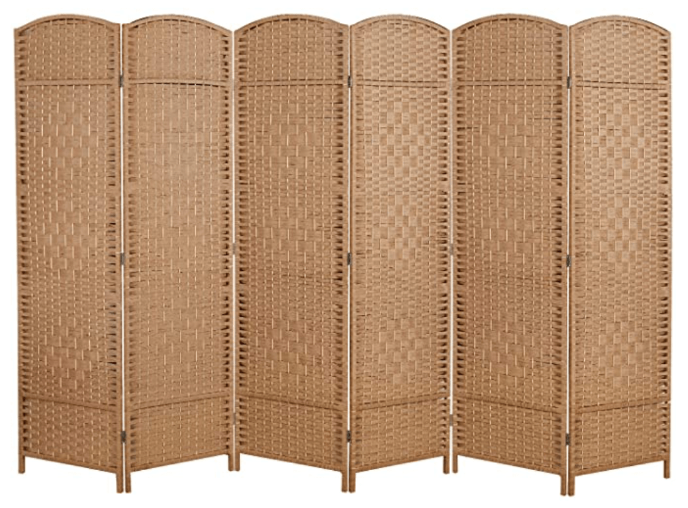 Room Divider and Folding Privacy Screen, Tall - Extra Wide Foldable Panel Partition Wall Divider with Diamond Double-Weaved & 6 Panel Room Screen Divider Separator - Natural, 6 Panel