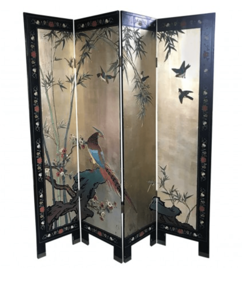 coromandel four panel screen late 19th century