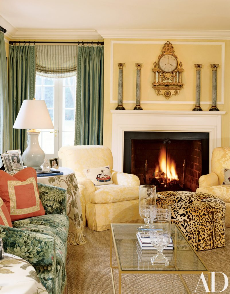 green and yellow leopard print pattern mixing living room