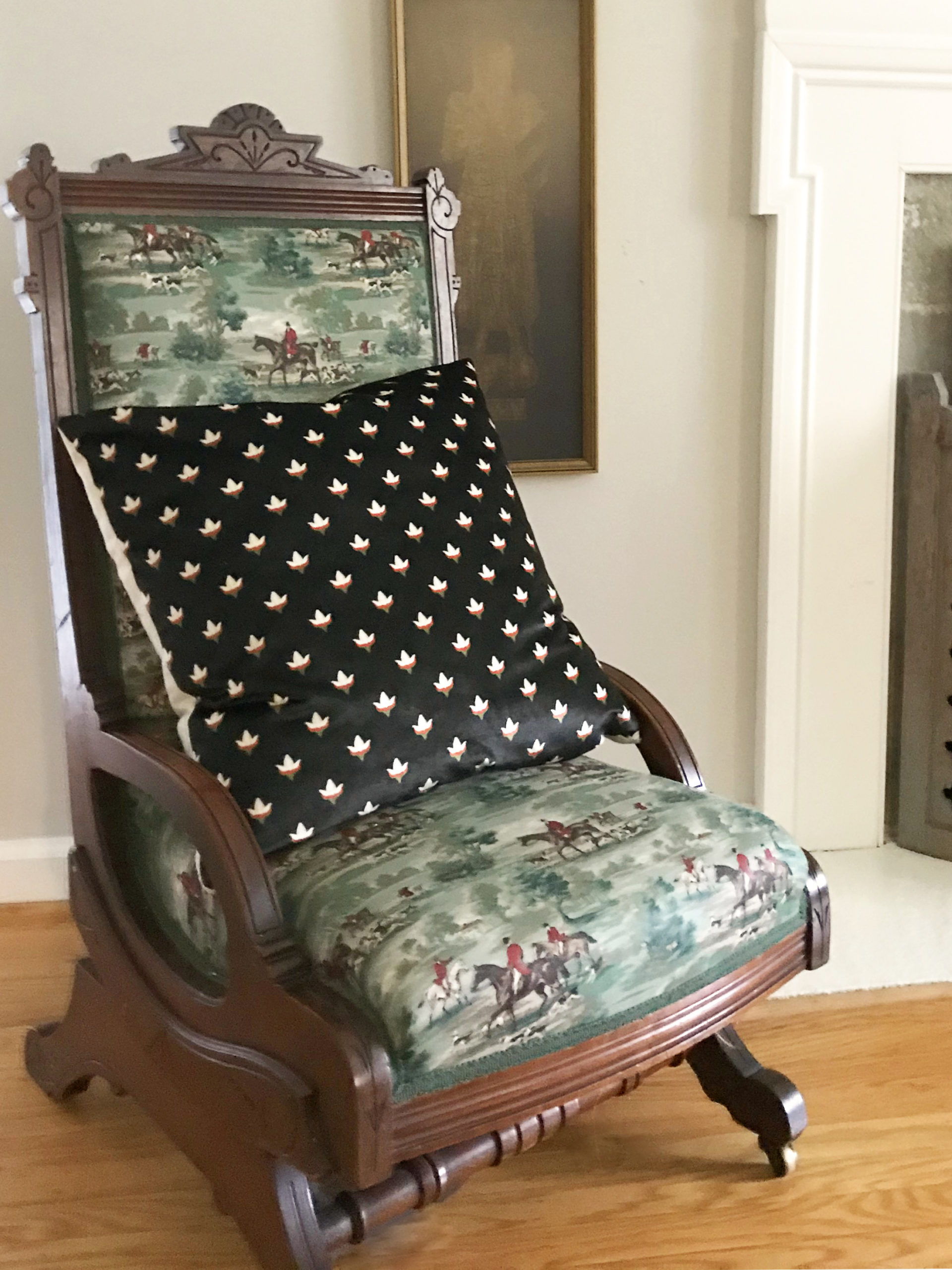 black velvet block print pillow on horse toile antique chair