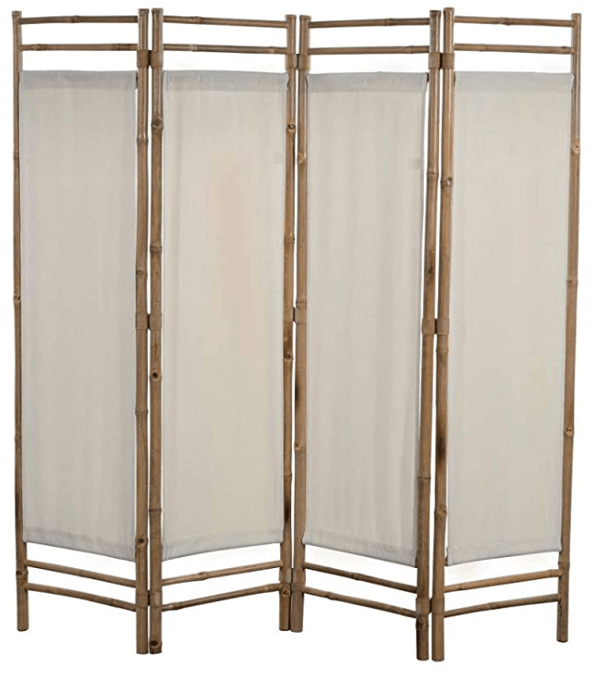 Folding 4-Panel Room Divider Sturdy Versatile Bathroom Bedroom Partition Privacy Screen Bamboo and Canvas