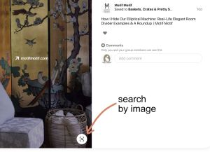 Pinterest search by image button location