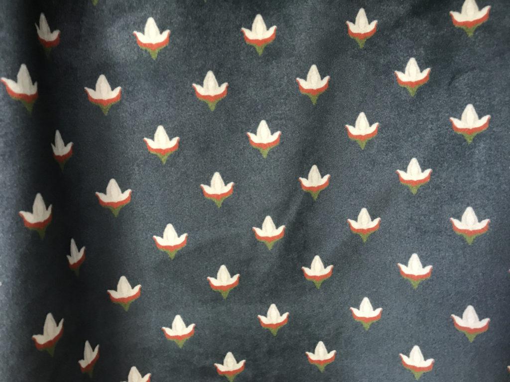 atlantic buds block print velvet