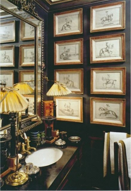 gallery wall with theme by bathroom sink