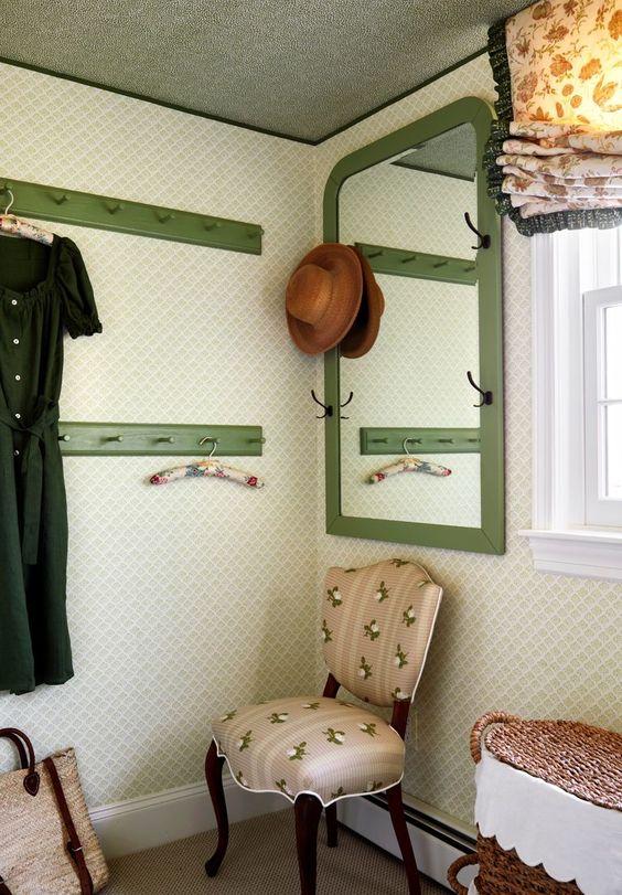 green shaker peg rails and mirror