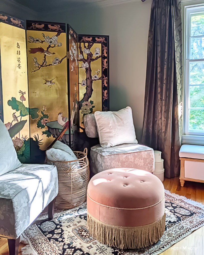 chinoiserie folding screen with pink ottoman