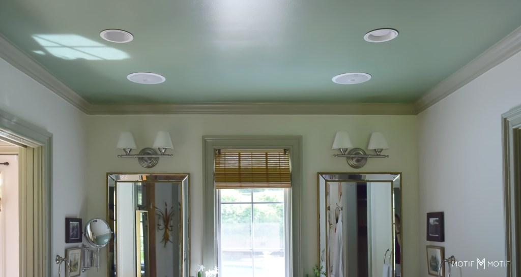 green bathroom ceiling