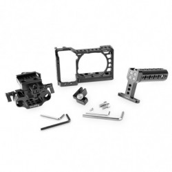 Sony A6500 Camera Cage with baseplate and accessories