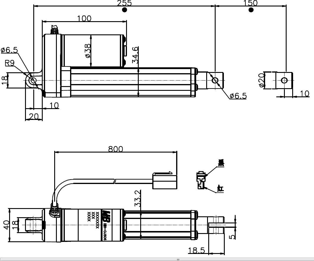 200N 150mm Stroke 42mm/Sec 12V