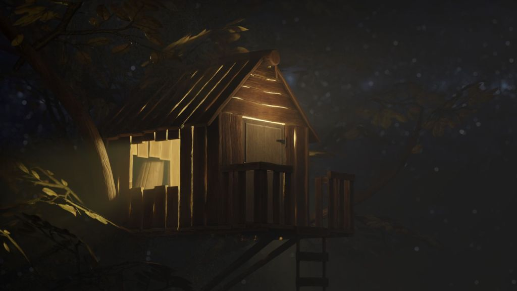 Treehouse at nightime