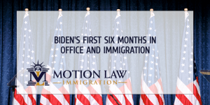 What has Biden done on immigration in his first six months?