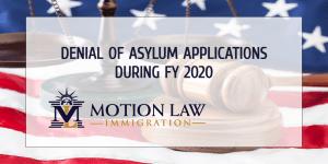 Asylum application denial rate in FY 2020