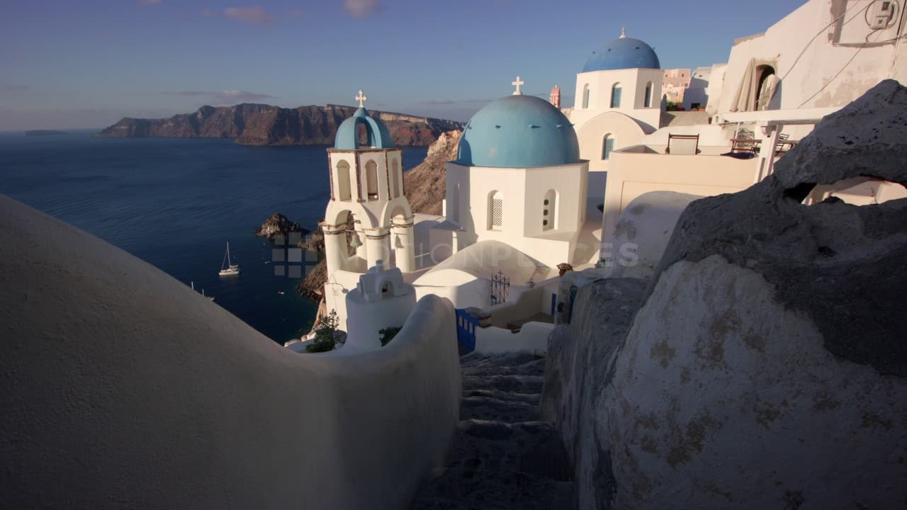 Santorini Stairs and Blue Domes Stock Footage by Motion Places