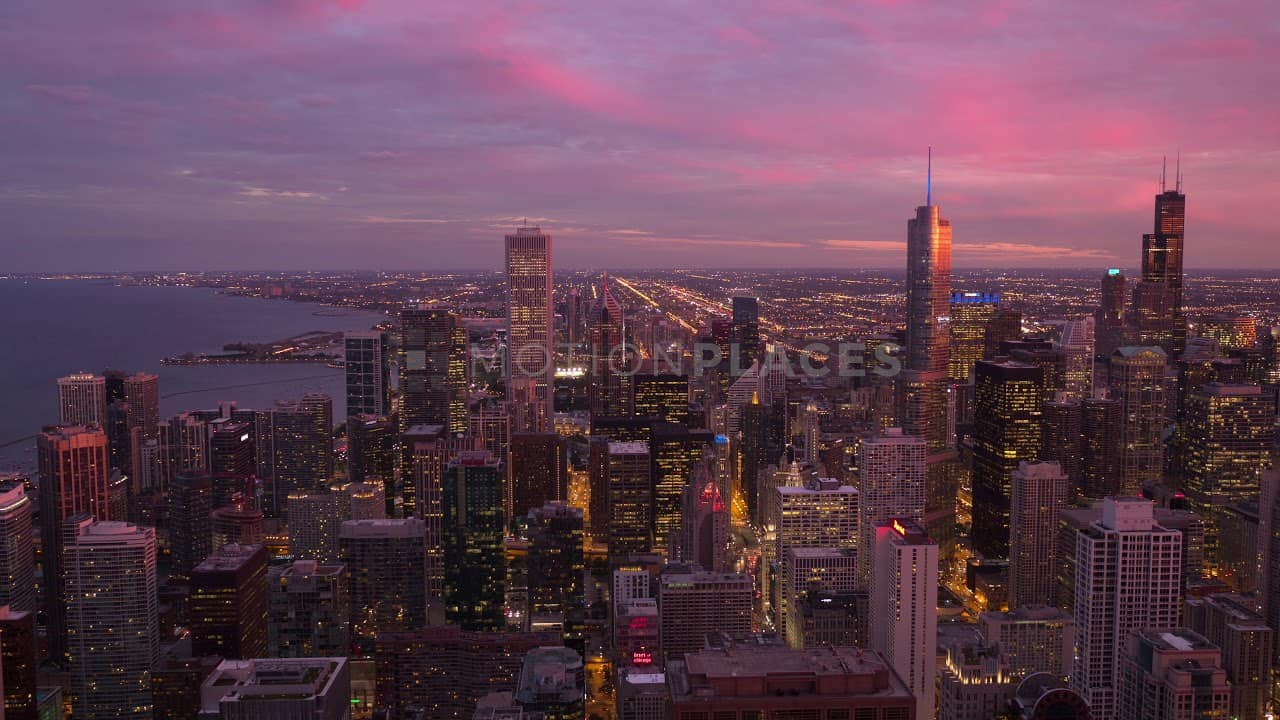 New York Fall Hd Wallpaper Chicago Skyline Pink Sunset Stock Footage Motion Places