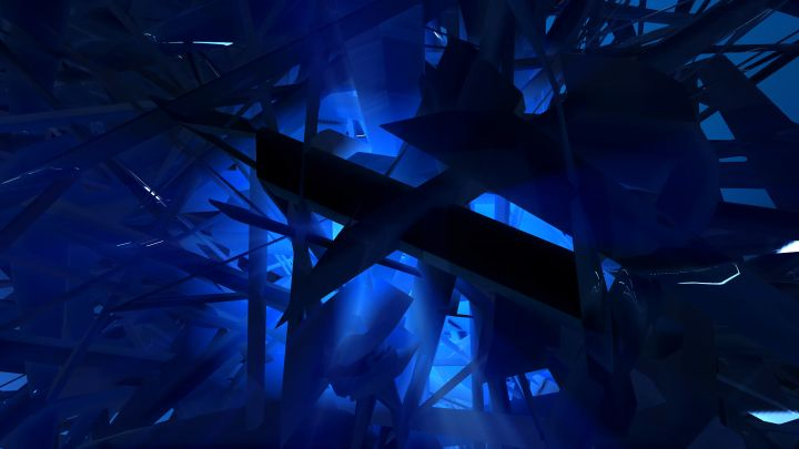 3d geometric shapes abstract background loop.Abstract blue 3d structure rotating.