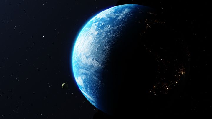 3D rendered beautiful view of earth rotating in space with stars and a planet in space free download