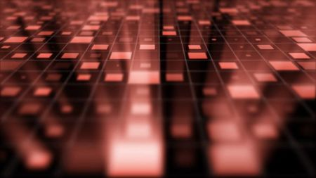 Abstract Grid Blocks with Light Rays Background