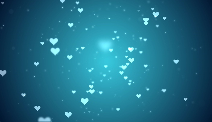 Hearts and Particles Flying Over Blue Background