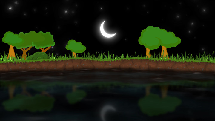 Night Lake Landscape Cartoon Video