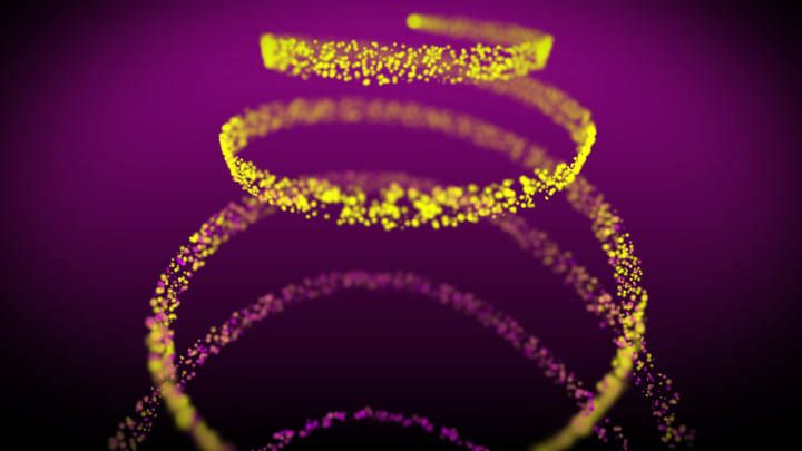 Read more about the article Particles Spiral Motion Background