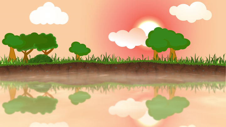 River Bank Landscape Cartoon Background