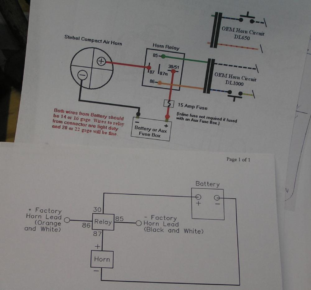 medium resolution of two wiring diagrams exactly the same i used the top one i cut a couple feet of wire for the horn to relay connection and one foot for the horn to ground