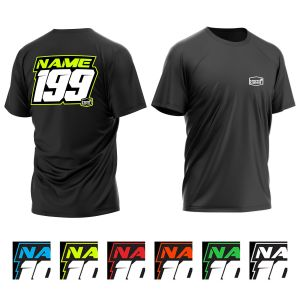 Multiple colours Name and Number T-Shirt showing front and back