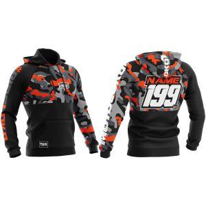 Front & back of orange camo customisable motorsports hoodie