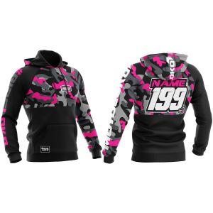 Front & back of pink camo customisable motorsports hoodie