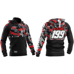 Front & back of red camo customisable motorsports hoodie
