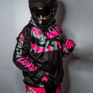 Pink Camo customised motorsports hoodie showing front and back