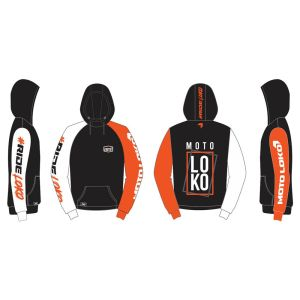 Orange Boxed customised motorsports hoodie showing front and back
