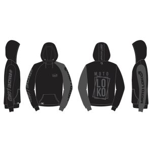 Stealth Boxed customised motorsports hoodie showing front and back