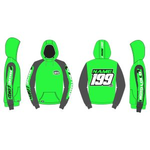 Green Brushed customised motorsports hoodie showing front and back
