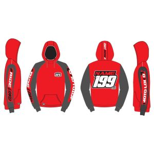 Red Brushed customised motorsports hoodie showing front and back
