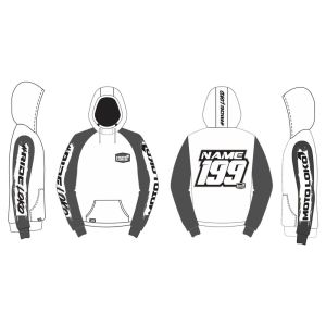 White Brushed customised motorsports hoodie showing front and back