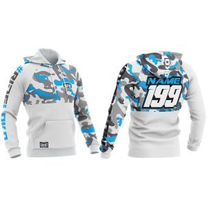 Front & back of camo white & blue motorsports customisable hoodie