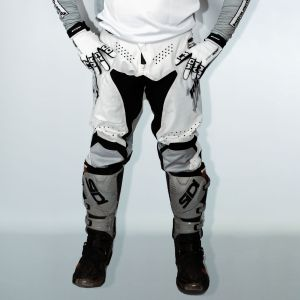 Front of adult white engage motorsports pants