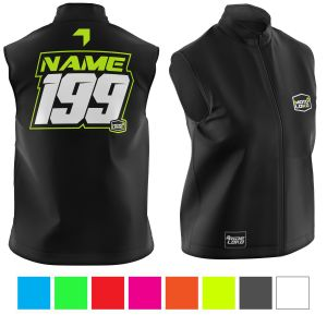 Front & back of black motorsports softshell bodywarmer with yellow customisation