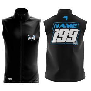 Front & back of black motorsport softshell bodywarmer with blue customisation