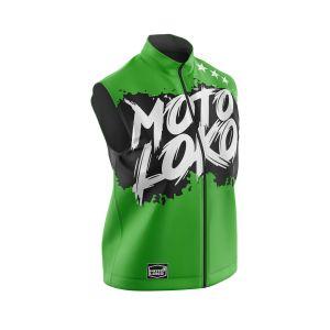 Front of green brushed motorsports softshell bodywarmer