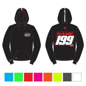 Red hoodie mockup showing front and rear with customised Name and Number, with colour swatches below