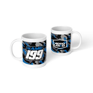 Blue camo mug with customised Name & Number on one side and MotoLoko logo on the other side