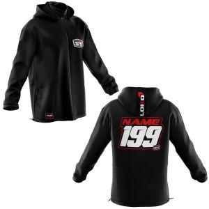 Front & back of black motorsports softshell jacket with red customisation