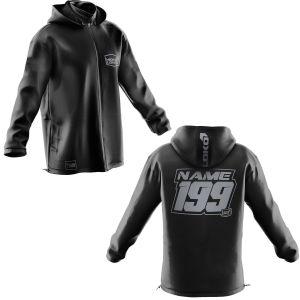 Front & back of black motorsports softshell jacket with grey customisation