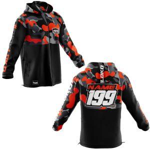 Front & back of orange camo motorsports customisable softshell jacket