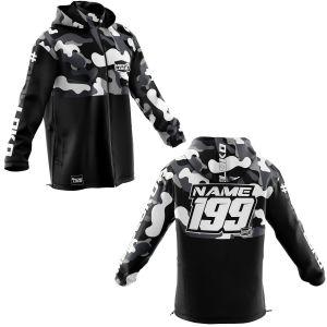 Front & back of white camo motorsports customisable softshell jacket