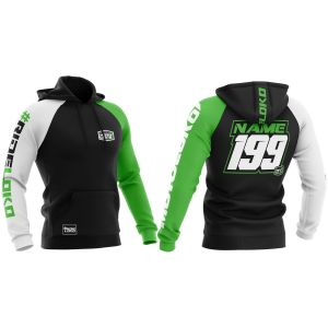 Front & back of green customised premium motorsports hoodie